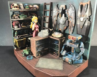 Princess Peach Mech Repair Shop Custom Figure Diorama