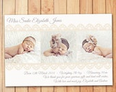 Vintage Lace Birth Announcement Card - Baby Thank You Card
