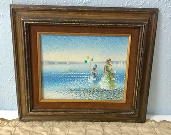 Girls with Balloons - Original vintage oil painting