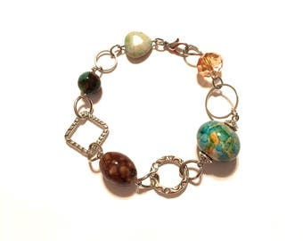 Bracelet. Beaded. Turquoise, blue, green, brown. Silver Chain. Jewelry.