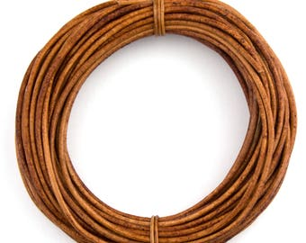 Brown Light Natural Dye Round Leather Cord 1mm 25 meters (27 yards)