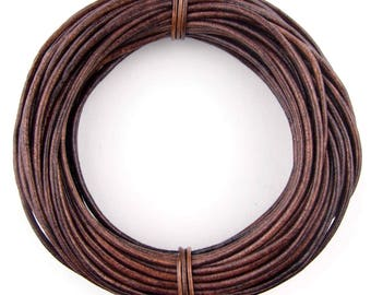 Brown Distressed Round Leather Cord 1.5mm 50 meters (54 yards)