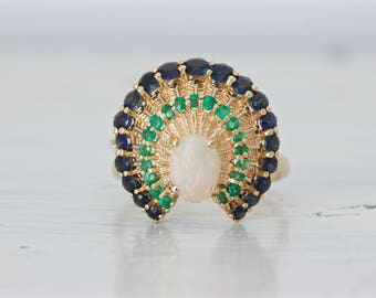 Rare Vintage Peacock Ring | Faberge Designed | 14k Yellow Gold Cocktail Ring | Opal Ring | Emerald Gemstones | Sapphire Halo | Size 9