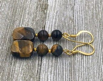 Free Shipping,Tiger Eye Earrings,brown tiger eye earrings,ladies tiger eye earrings,Bohemian gemstone earrings,brown gemstones,earrings