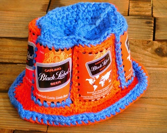 Vintage 70s Carling Black Label Beer Can Party Knit Ski Hat