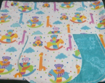 Giraffes, bears with turquoise Backing Hemstitched Baby Blanket and Burps ready for you to crochet by Lindas Hemstitching
