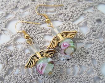 Earrings for little girl Lovely gold angel earrings rose for little lady