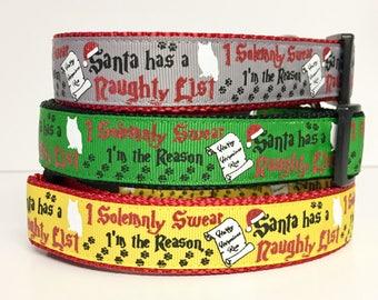 Harry Potter, Dog Collar, Hogwarts, I Solemnly Swear, Santa, Christmas, Naughty List, Holiday, Dog Collar, Gift for Dog