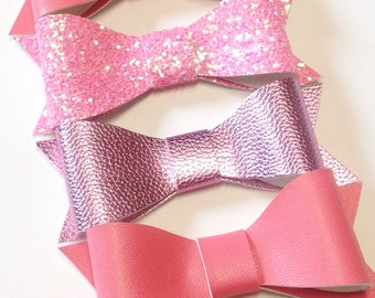 Pink Glitter Bow | Glitter Bow | Rose Gold Bow | Back to School | Leather Bow | Handmade Fabric Hair Clip | Headband Bows