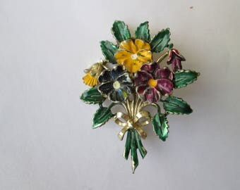 Exquisite Pansy Brooch. Pansy Bouquet Brooch. Posy Flower Brooch. Signed Jewelry.