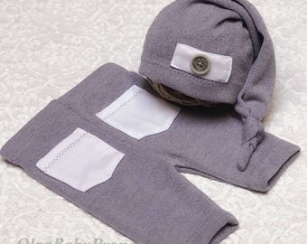 Photo props newborn boy photo outfit newborn boy pants and hat newborn boy gray white pockets set Newborn photography.  Ready to ship.