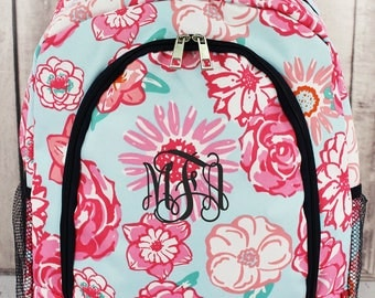 Monogram Backpack, Personalized backpack, Girls backpack, Monogram Backpack, Floral Print, Back To School, Birthday Gift, Monogram Bag