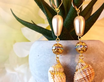 WEDDING SALE: Pearl Seashell Earrings For Beach Wedding - Bride - Bridesmaids - In-Stock, Ready To Ship! Lightweight - Delicate - Dainty
