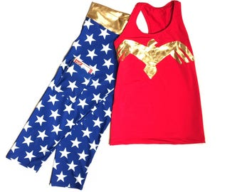 Wonder Woman running costume- Wonder woman shirt and Wonder woman leggings with a pocket