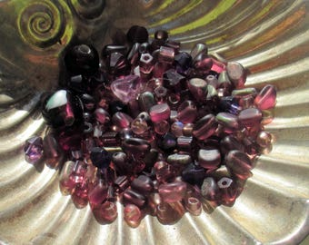 Lot Of Assorted Salvaged Purple Colored Glass Beads