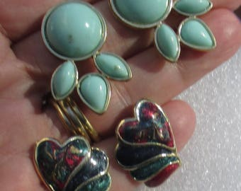 Retro Colorful Enameled Heart & Mint Colored Pierced Earrings TLC