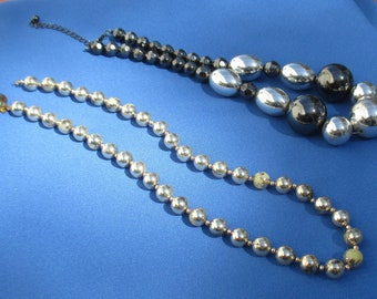 Lot Of Retro Metal Hematite & Plastic Beaded Necklaces TLC