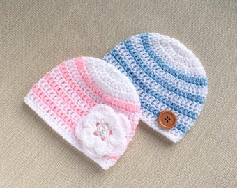 Twins baby gifts, Twin boy and girl hats, Crochet newborn twin hats, Twin newborn photo prop