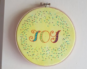Joy Embroidered Hoop Art, Non-traditional Christmas
