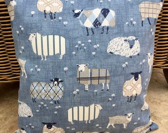 Sheep cushion cover, sheep cushion cover, blue cushion 16""