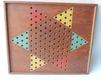 Handmade Vintage Chinese Checkers Gameboard