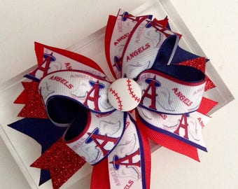 Angels Baseball Hair Bow, Angels Baseball Baby Girl Headband.