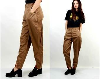 80s Galife Pants / High Waist Pants / Cotton Pants / Cacao Pants / Boyfriend Pants / Large Pants