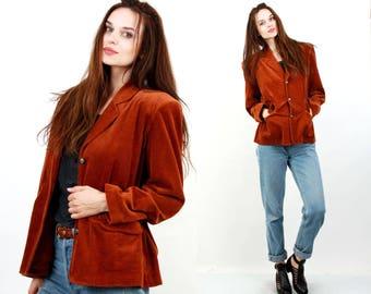 Cordyroy Jacket / Corduroy Blaer / Large Women Jacket / Summer Jacket / Cotton Jacket / Tan Brown Jacket