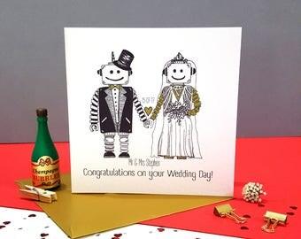 Personalised Robot Love Wedding Card- Handmade Robot Wedding Card- To the Happy Couple- Wedding Congratulations