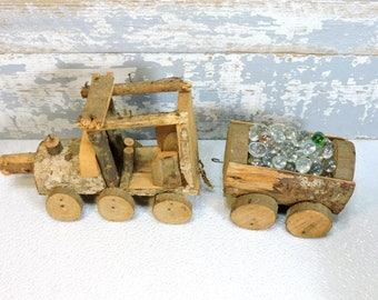 Wooden Train Set Handmade Rustic Candy Holder Display Piece Vintage Locomotive and Cart Table Center Piece Servingware Rustic Home Decor