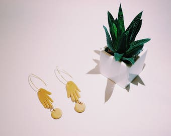 Gold Hand Earring | with drop circle
