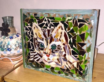 Stained Glass Tabby Cat mosaic:  pet, portrait, memorial, pet loss, cat lover, pet owners, stain glass, tabletop frame