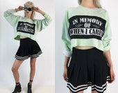 """Cropped Pullover """"In Memory Of When I Cared"""" Sweatshirt 2X Plus - Hand Dyed Tie Dye Grunge Casual Pullover DIY Patch Slouchy Health Goth Top"""