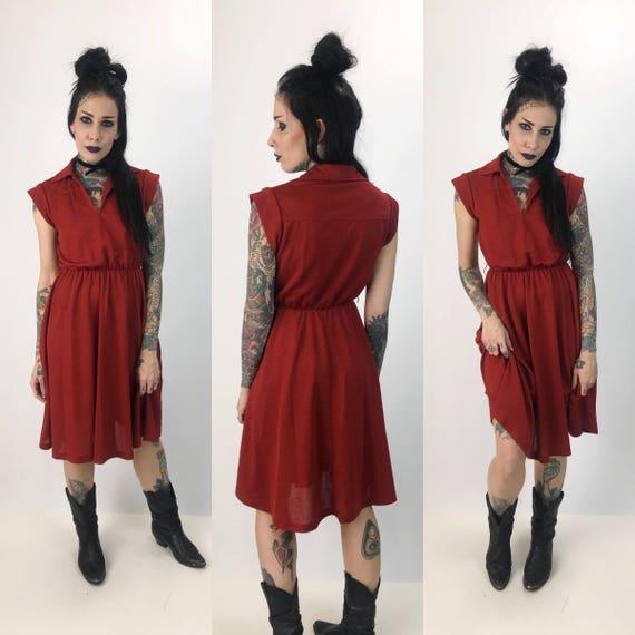 70's Midi Dress Small Women Vintage Polyester Dress - Ox Blood Rust Red Retro Knee Length Vintage Sleeveless Retro Day Dress Elastic Waist