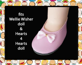 Vintage 2-1/4 inch x 1-1/8 inch Pink Doll Shoes / American Girl Wellie Wisher / Hearts 4 Hearts dolls