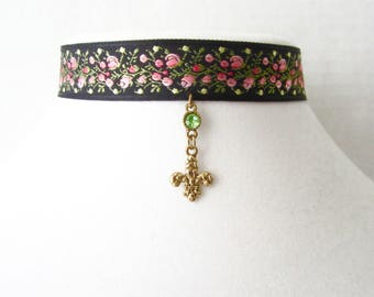 End of Summer Sale // Fleur de Lis // Floral Choker // Embroidered Flower Choker // Black Choker with Charm and Stone //  French Inspired