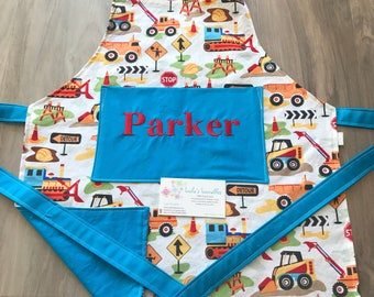 Kids construction apron, personalized