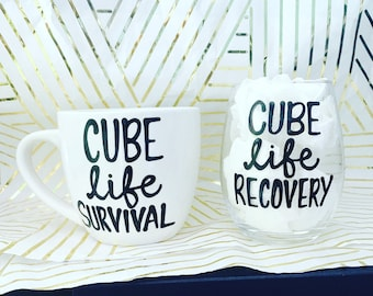 Cube Life- cubicle gift- office gift- coworker gift- white elephant gift- survival recovery- work day- office humor-  funny coffee cup boss