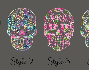 Lily Pulitzer Inspired Sugar Skull Decal