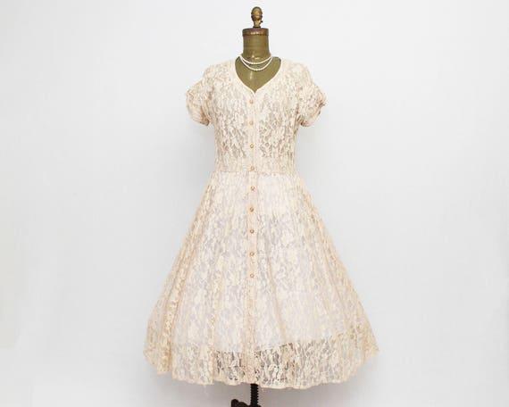 40s Lace Day Dress - Size Small Vintage 1940s Button Down Beige Lace Dress by C. D. Robbins Original