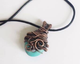 Copper wire necklace with howlite, Copper necklace, Wire wrapped pendant Turquoise
