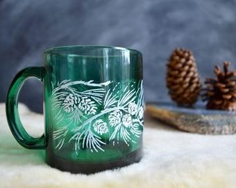 Vintage Green Glass Pinecone Mug