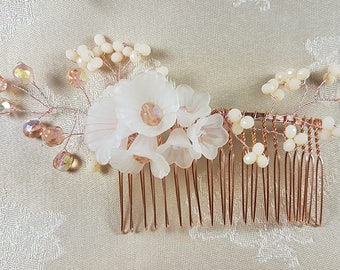 Bridesmaid or Flowergirl pink and white haircomb
