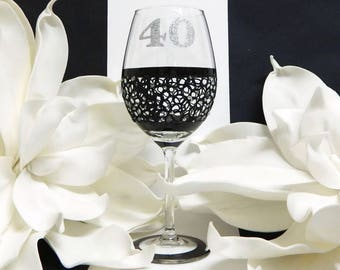 40th Wine Glass Gift Idea Black and Silver Party Favours For Wine Lovers Hand Painted Glass Lace