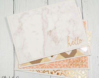 Stationery Set, Modern Hello Card Set, Fall Stationery Set, Rose Gold, Boxed Cards, Handmade Stationery, Handmade Cards