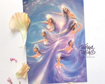 A4 Artprint 'The 7 Sisters' (Purple, Violet) Spiritual and Intuitive painting of the Hathors, Pleiades