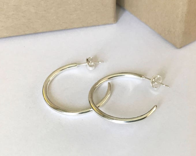 Silver handmade hoop earrings with post fitting