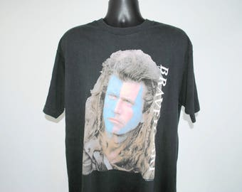 1995 Braveheart Rare Vintage Scottish Independence War Paint Classic 90's Mel Gibson William Wallace Blockbuster Biopic Movie Promo T-Shirt