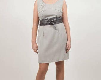 dress gray with pleated chest yoke and tie belt