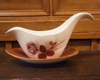 Midwinter Stylecraft 'Shadow Rose' Gravy/Sauce Boat & Stand - Retro - Mid Century - Vintage